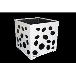 Cache-pot carré blanc avec ellipses noires