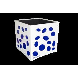 Cache-pot carré blanc avec ellipses bleues
