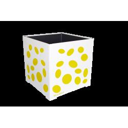 Cache-pot carré blanc avec ellipses jaunes