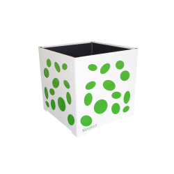 Cache-pot carré blanc avec ellipses vertes