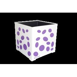 Cache-pot carré blanc avec ellipses violettes