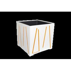 Cache-pot carré blanc avec lignes oranges
