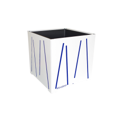 Cache-pot carré blanc avec lignes bleues