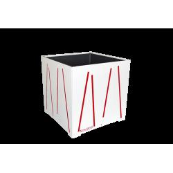 Cache-pot carré blanc avec lignes rouges