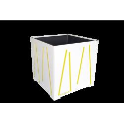 Cache-pot carré blanc avec lignes jaunes