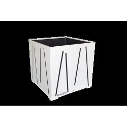 Cache-pot carré blanc avec lignes anthracites