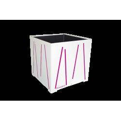 Cache-pot carré blanc avec lignes fushias