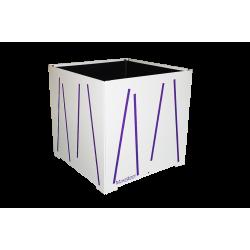 Cache-pot carré blanc avec lignes violettes