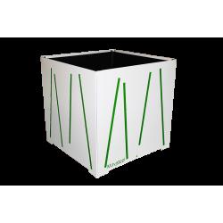 Cache-pot carré blanc avec lignes vertes