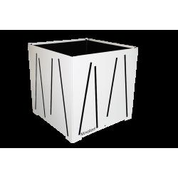 Cache-pot carré blanc avec lignes noires