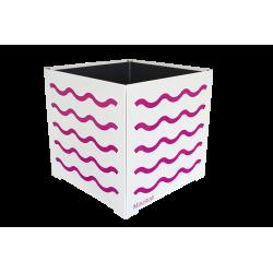 Cache-pot carré blanc avec vagues fushias