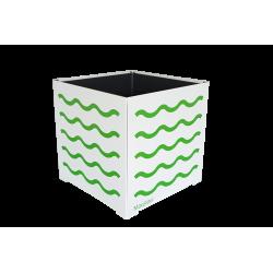 Cache-pot carré blanc avec vagues vertes
