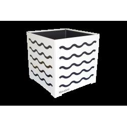 Cache-pot carré blanc avec vagues jaunes