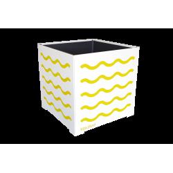 Cache-pot carré blanc avec vagues rouges