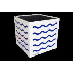 Cache-pot carré blanc avec vagues bleues