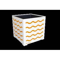 Cache-pot carré blanc avec vagues oranges