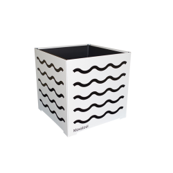 Cache-pot carré blanc avec vagues noires