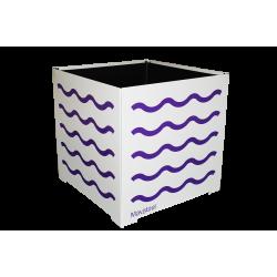 Cache-pot carré blanc avec vagues violettes