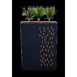 Jardinière haute découpes petits rectangles oranges