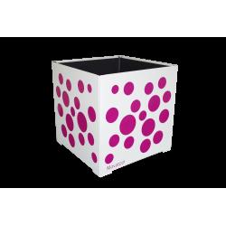 Cache-pot carré blanc avec bulles fushia