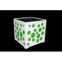 Cache-pot carré blanc avec bulles vertes