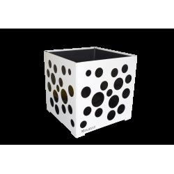 Cache-pot carré blanc avec bulles noires