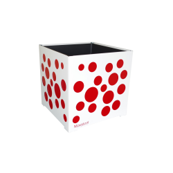 Cache-pot carré blanc avec bulles rouges