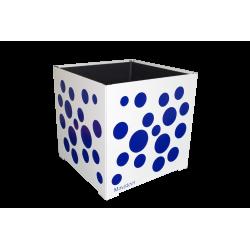 Cache-pot carré blanc avec bulles bleues