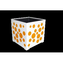 Cache-pot carré blanc avec bulles oranges