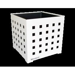 Cache-pot carré blanc avec carrés noirs