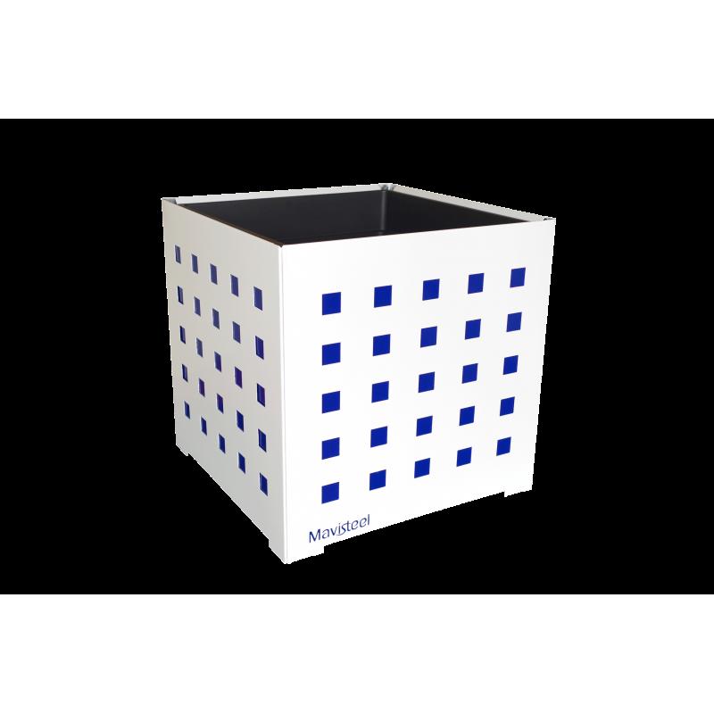 Cache-pot carré blanc avec carrés bleus