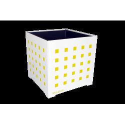 Cache-pot carré blanc avec carrés jaunes
