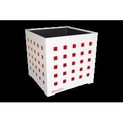 Cache-pot carré blanc avec carrés rouges