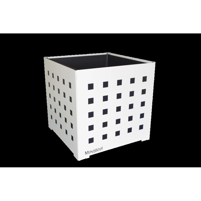 Cache-pot carré blanc avec carrés anthracites