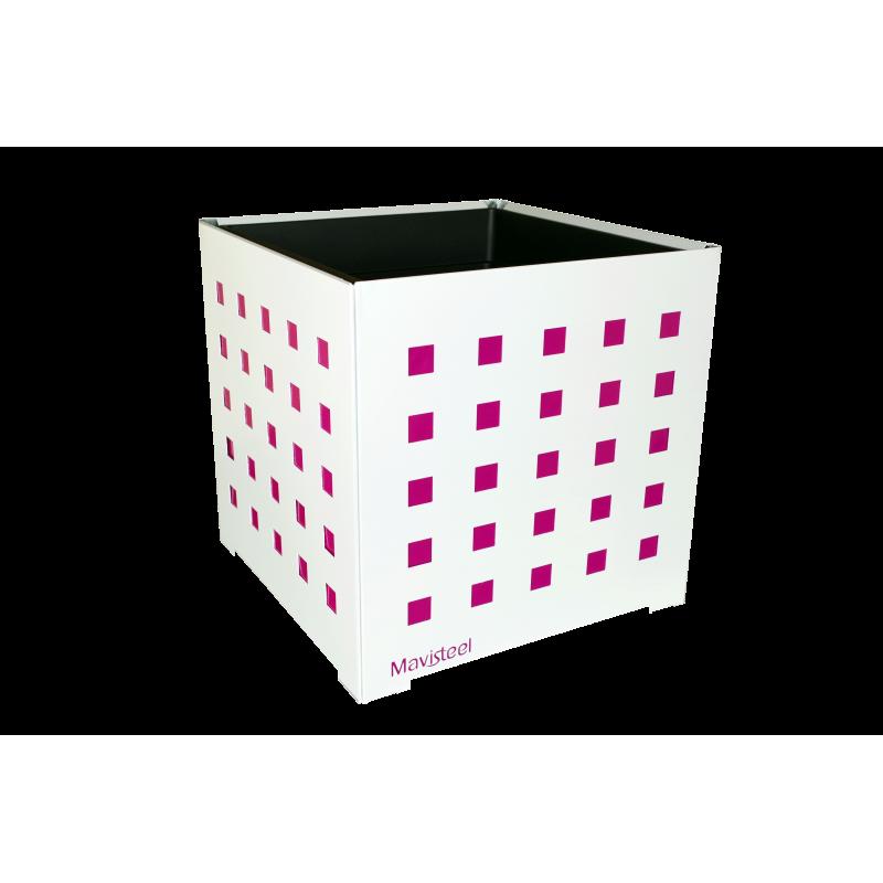 Cache-pot carré blanc avec carrés fushias