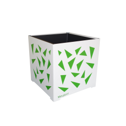 Cache-pot carré blanc avec triangles verts