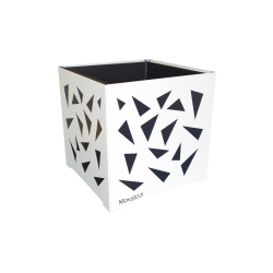 Cache-pot carré blanc avec triangles anthracites