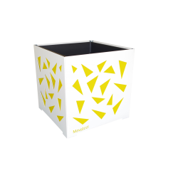 Cache-pot carré blanc avec triangles jaunes