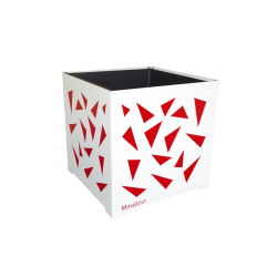 Cache-pot carré blanc avec triangles rouges