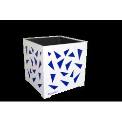 Cache-pot carré blanc avec triangles bleus