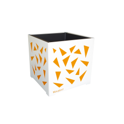 Cache-pot carré blanc avec triangles oranges