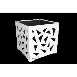 Cache-pot carré blanc avec triangles noirs