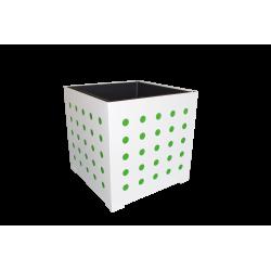 Cache-pot carré blanc avec ronds verts