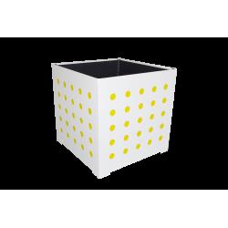 Cache-pot carré blanc avec ronds jaunes