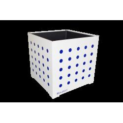 Cache-pot carré blanc avec ronds bleus