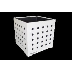 Cache-pot carré blanc avec ronds noirs