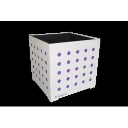 Cache-pot carré blanc avec ronds violets